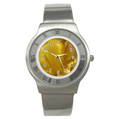 Beer Beverage Glass Yellow Cup Stainless Steel Watch