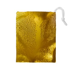 Beer Beverage Glass Yellow Cup Drawstring Pouches (Large)