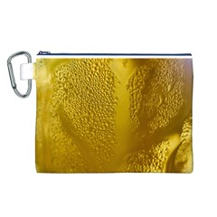 Beer Beverage Glass Yellow Cup Canvas Cosmetic Bag (L)