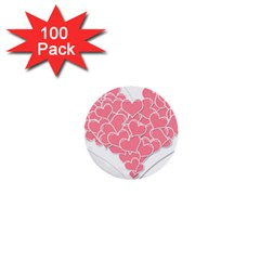 Heart Stripes Symbol Striped 1  Mini Buttons (100 Pack)