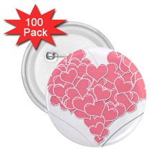 Heart Stripes Symbol Striped 2.25  Buttons (100 pack)