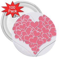 Heart Stripes Symbol Striped 3  Buttons (100 pack)