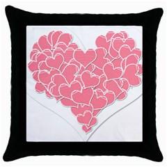 Heart Stripes Symbol Striped Throw Pillow Case (Black)