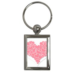 Heart Stripes Symbol Striped Key Chains (Rectangle)