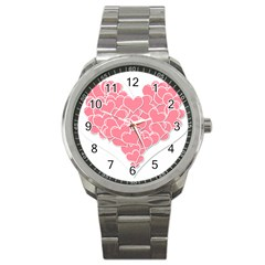 Heart Stripes Symbol Striped Sport Metal Watch