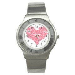 Heart Stripes Symbol Striped Stainless Steel Watch
