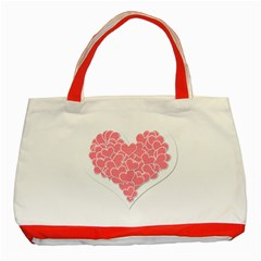 Heart Stripes Symbol Striped Classic Tote Bag (red)