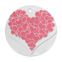 Heart Stripes Symbol Striped Round Ornament (two Sides)