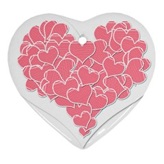 Heart Stripes Symbol Striped Heart Ornament (two Sides)