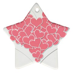 Heart Stripes Symbol Striped Star Ornament (two Sides)