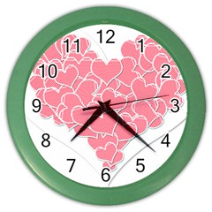 Heart Stripes Symbol Striped Color Wall Clocks