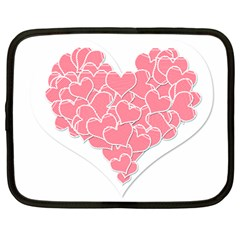 Heart Stripes Symbol Striped Netbook Case (large)
