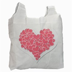 Heart Stripes Symbol Striped Recycle Bag (one Side)