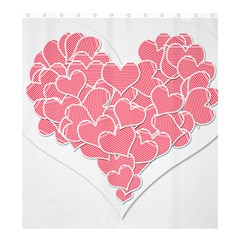 Heart Stripes Symbol Striped Shower Curtain 66  x 72  (Large)