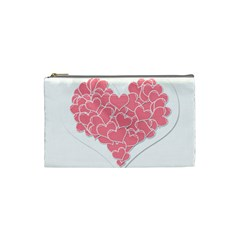 Heart Stripes Symbol Striped Cosmetic Bag (Small)