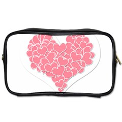 Heart Stripes Symbol Striped Toiletries Bags 2-Side