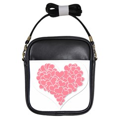 Heart Stripes Symbol Striped Girls Sling Bags