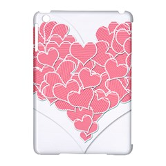 Heart Stripes Symbol Striped Apple Ipad Mini Hardshell Case (compatible With Smart Cover)