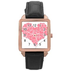 Heart Stripes Symbol Striped Rose Gold Leather Watch