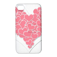 Heart Stripes Symbol Striped Apple iPhone 4/4S Hardshell Case with Stand
