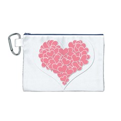 Heart Stripes Symbol Striped Canvas Cosmetic Bag (m)
