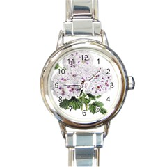 Flower Plant Blossom Bloom Vintage Round Italian Charm Watch