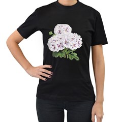 Flower Plant Blossom Bloom Vintage Women s T Shirt (black) (two Sided)