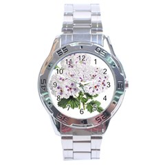 Flower Plant Blossom Bloom Vintage Stainless Steel Analogue Watch