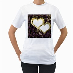 Lover Romantic Couple Apart Women s T-Shirt (White) (Two Sided)