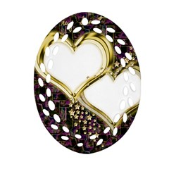 Lover Romantic Couple Apart Oval Filigree Ornament (Two Sides)