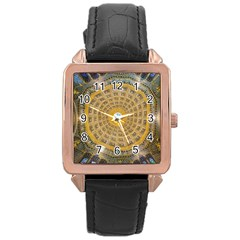 Arches Architecture Cathedral Rose Gold Leather Watch
