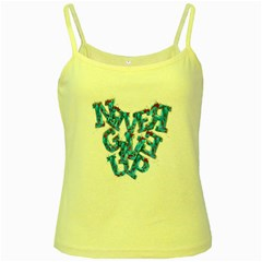 Sport Crossfit Fitness Gym Never Give Up Yellow Spaghetti Tank