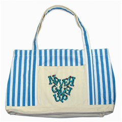 Sport Crossfit Fitness Gym Never Give Up Striped Blue Tote Bag