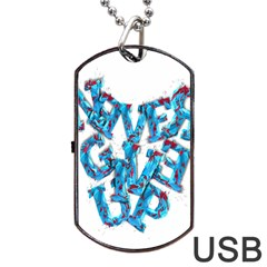 Sport Crossfit Fitness Gym Never Give Up Dog Tag Usb Flash (one Side)