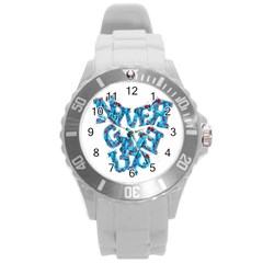Sport Crossfit Fitness Gym Never Give Up Round Plastic Sport Watch (l)