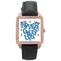Sport Crossfit Fitness Gym Never Give Up Rose Gold Leather Watch