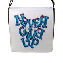 Sport Crossfit Fitness Gym Never Give Up Flap Messenger Bag (L)