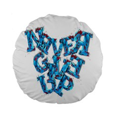 Sport Crossfit Fitness Gym Never Give Up Standard 15  Premium Flano Round Cushions