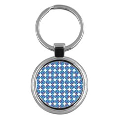 Geometric Dots Pattern Rainbow Key Chains (round)