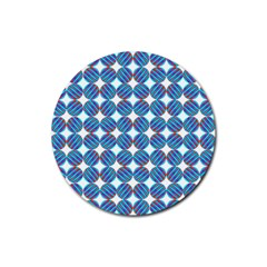 Geometric Dots Pattern Rainbow Rubber Coaster (round)