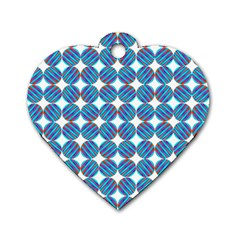 Geometric Dots Pattern Rainbow Dog Tag Heart (One Side)