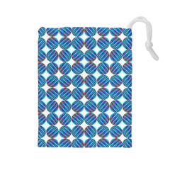 Geometric Dots Pattern Rainbow Drawstring Pouches (large)