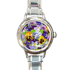 Spring Pansy Blossom Bloom Plant Round Italian Charm Watch