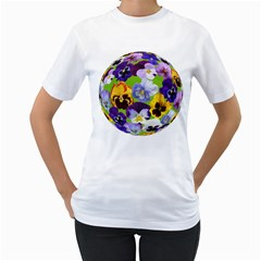 Spring Pansy Blossom Bloom Plant Women s T-Shirt (White) (Two Sided)