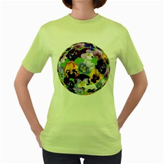 Spring Pansy Blossom Bloom Plant Women s Green T Shirt