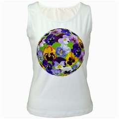 Spring Pansy Blossom Bloom Plant Women s White Tank Top
