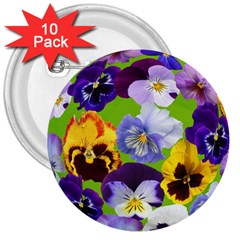 Spring Pansy Blossom Bloom Plant 3  Buttons (10 Pack)
