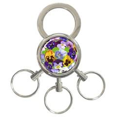 Spring Pansy Blossom Bloom Plant 3-Ring Key Chains
