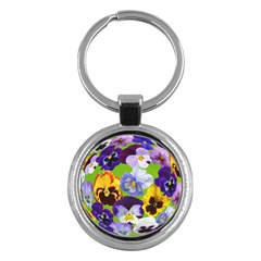 Spring Pansy Blossom Bloom Plant Key Chains (round)