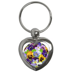 Spring Pansy Blossom Bloom Plant Key Chains (heart)
